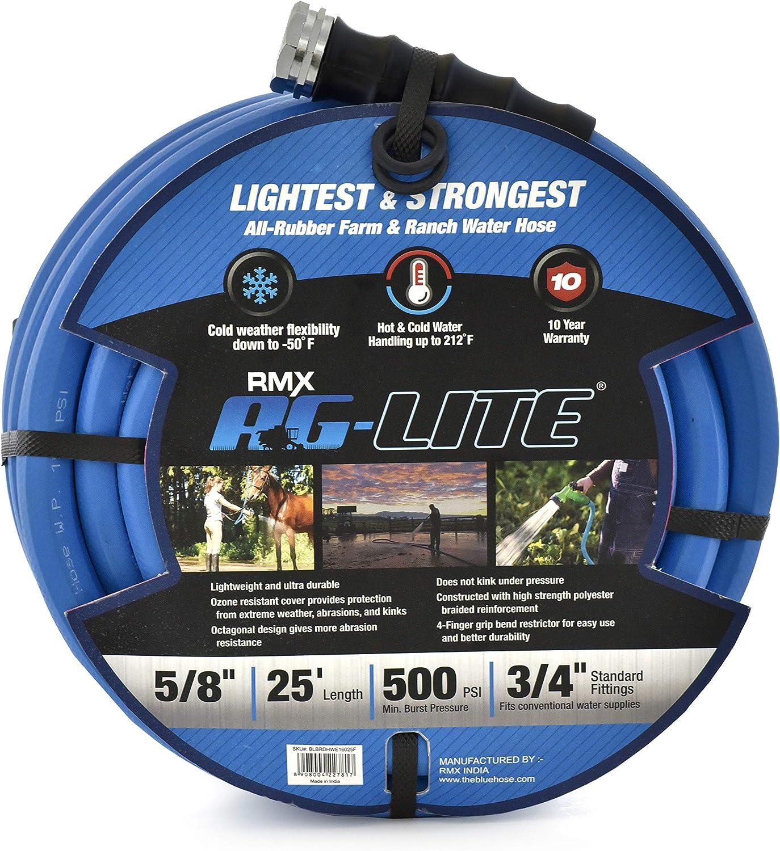 """AG-Lite Rubber Hot & Cold Water Rubber Garden Hose: Ultra-Light & Super Strong (5/8"""" x 25') - BSAL5825"""