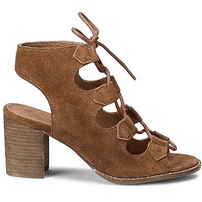 Cox Damen Damen Schnür Sandalette aus Leder, Schnürpumps in