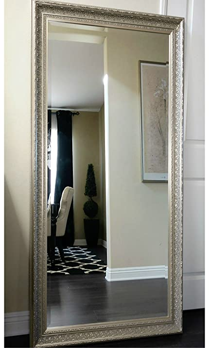 West Frames Elegance Ornate Embossed Champagne Silver Leaf Wood Framed Floor  Mirror