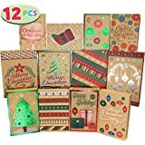 12 Christmas Foil Kraft Gift Boxes with 3 Sizes (Robe, Shirt and Lingerie Boxes) for Xmas Goody Gift Boxes, School Classrooms