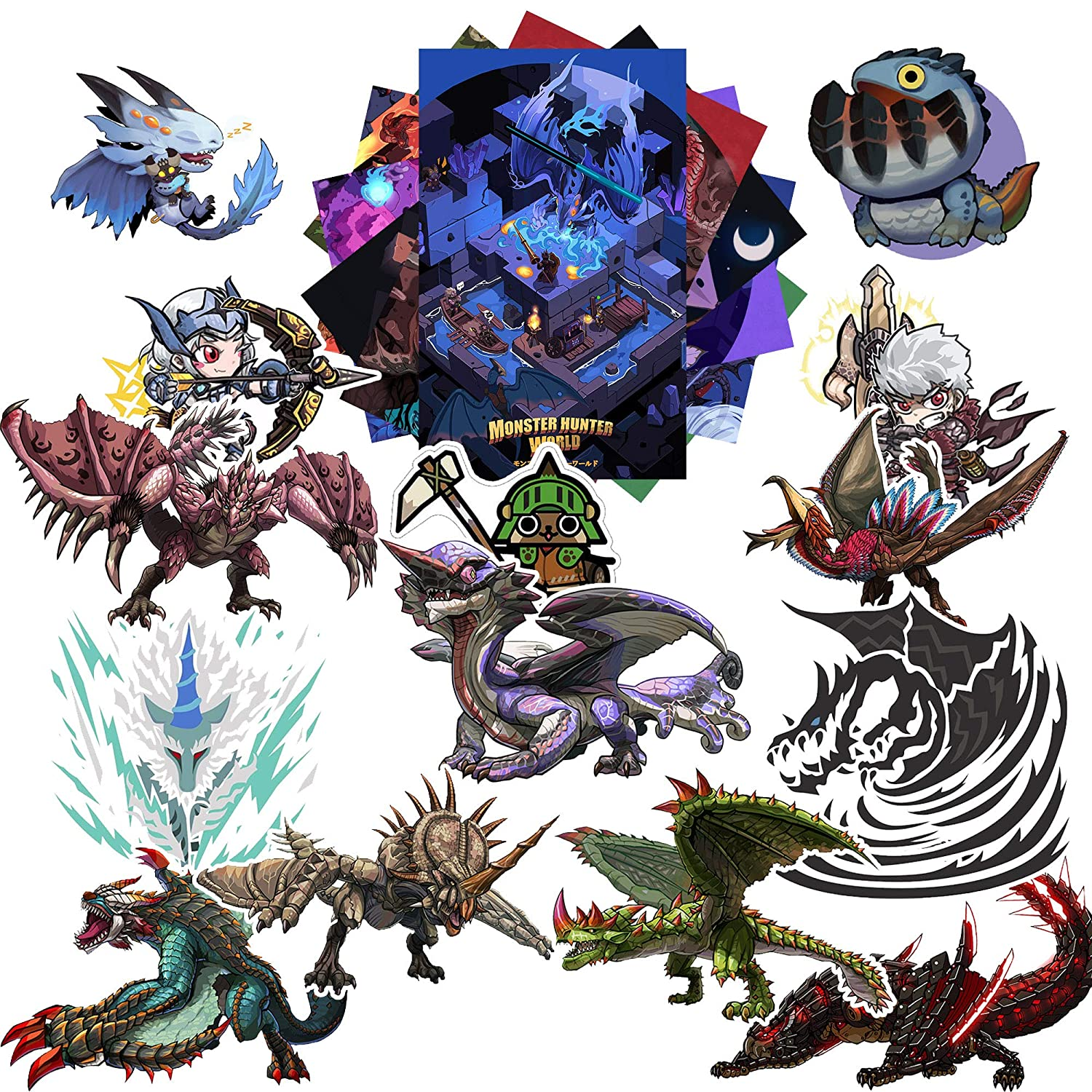 Monster Hunter Stickers Pack 20-Pcs, GTOTd Stickers Decals Vinyls for  Laptop,Waterbottle,Gift,Teens,Cars, Collection、Skate Board(Not Random)