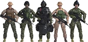 Navy Seals Action Figures – 5 Pack Military Toy Soldiers Playset with 14 Points of Articulation   Realistic Accessories – Elite Force