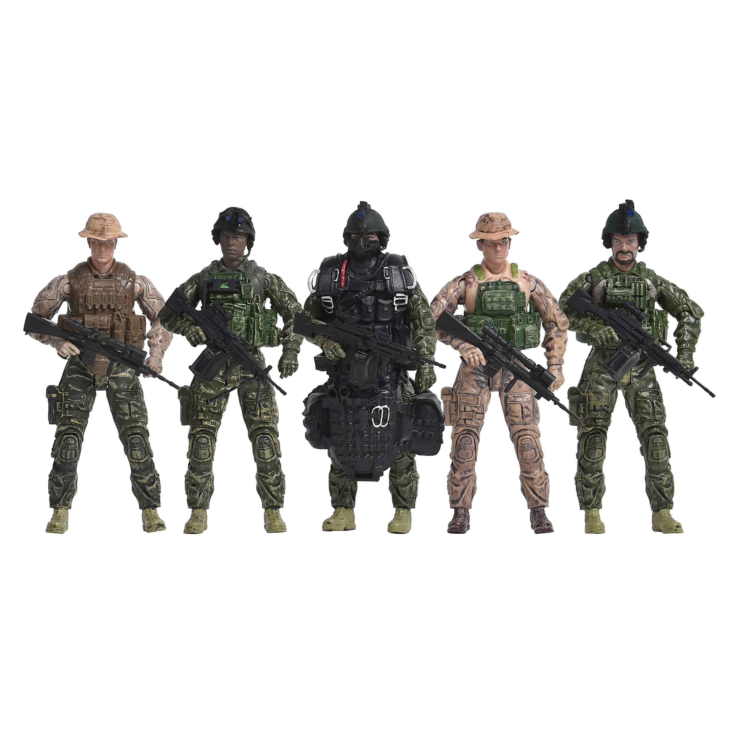 Navy Seals Action Figures – 5 Pack Military Toy Soldiers Playset with 14 Points of Articulation | Realistic Accessories (101837)