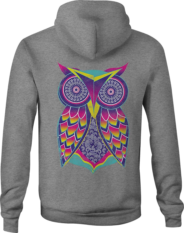 Motorcycle Zip Up Hoodie Geometric Neon Owl Bright Colors