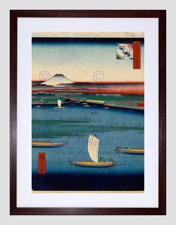 UTAGAWA HIROSHIGE JAPANESE 100 VIEWS EDO 067 BLACK FRAMED ART PRINT B12X1918