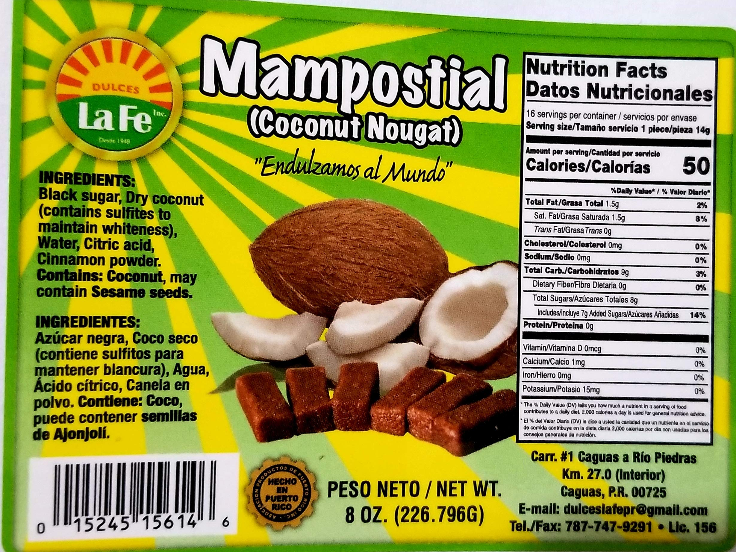 Mampostiales (Coconut Toffee) By Fabrica De Dulces La Fe (18 Individual Packaged Units