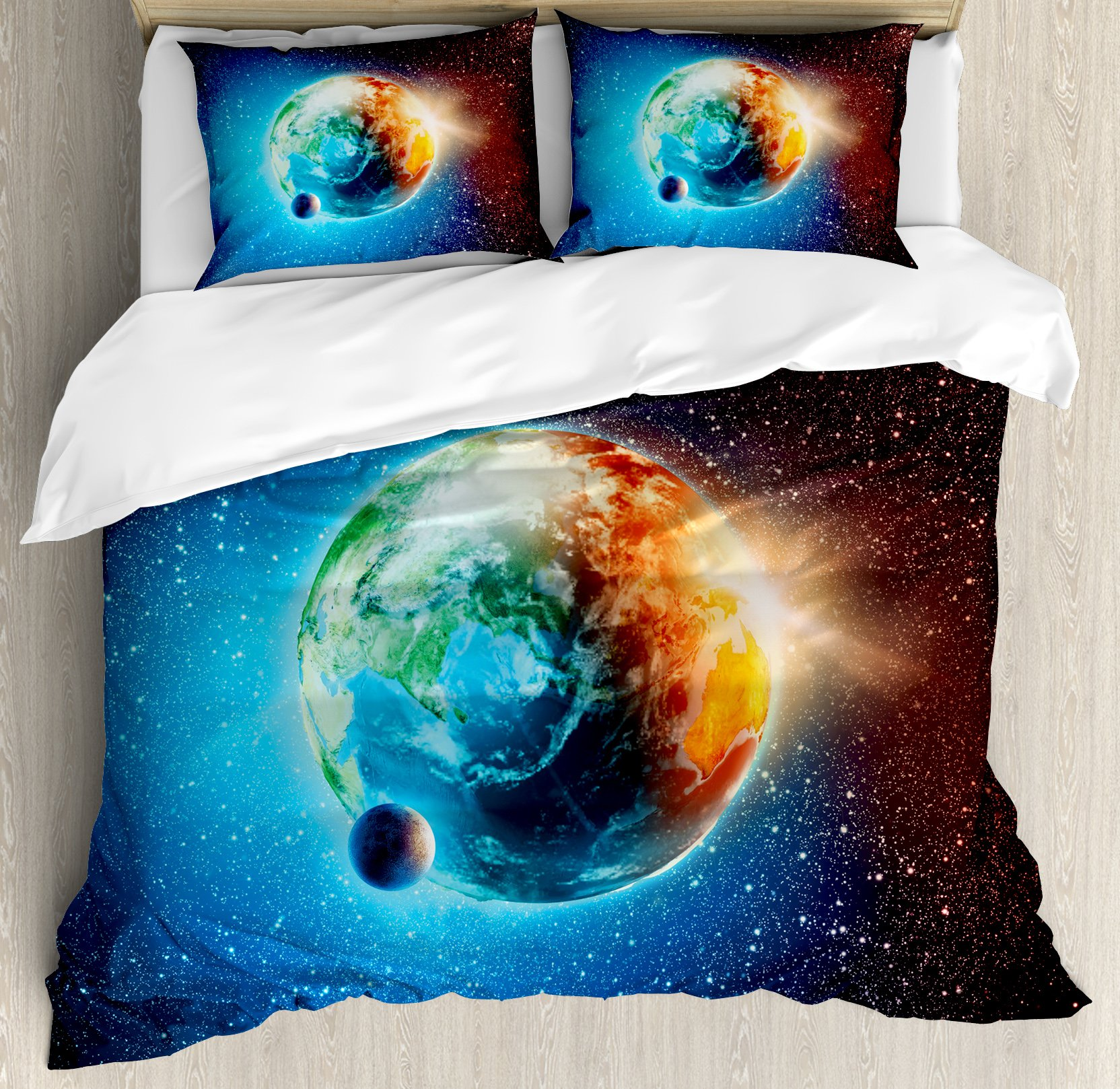 Earth Duvet Cover Set Queen Size by Ambesonne, Majestic Galaxy Outer Space View Universe with Planet Earth Stars Astral Theme, Decorative 3 Piece Bedding Set with 2 Pillow Shams, Orange Blue Black