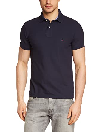 b1939db39 Tommy Hilfiger Men's Performance Slim Fit Short Sleeve Polo Shirt:  Amazon.co.uk: Clothing