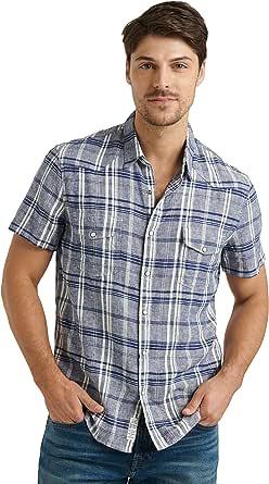Lucky Brand Men's Short Sleeve Button Up Two Pocket Santa Fe Western Shirt
