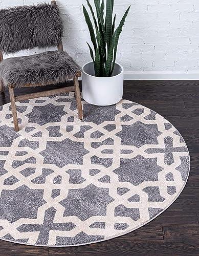 Unique Loom Trellis Collection Geometric Modern Gray Round Rug 8' 0 x 8' 0