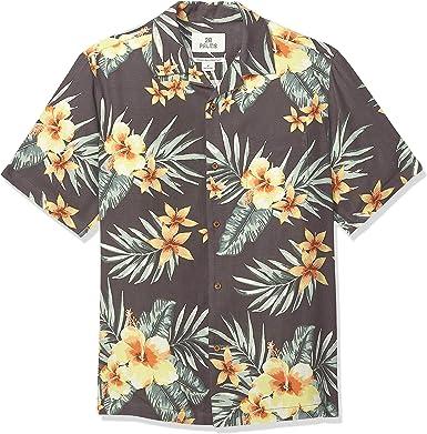 Marca Amazon - 28 Palms – Camisa de seda texturizada 100 % de corte holgado para hombre, diseño tropical hawaiano: Amazon.es: Ropa y accesorios