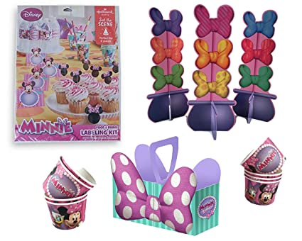 Minnie Mouse Table Decorations Snack Caddy Food And Drink Labeling Kit Cup