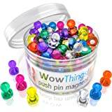 Push Pin Magnets, 65 Pack Assorted Colored Kitchen Office Magnets, Neodymium Mini Fridge Magnets Strong, Heavy Duty Push Pins, Perfect For Classroom Map Dry Erase Whiteboard Magnets, Teacher Magnets