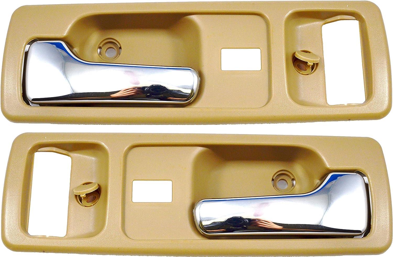 Beige//Tan Chrome Lever PT Auto Warehouse HO-2380ME-FP Inside Interior Inner Door Handle Front Left//Right Pair
