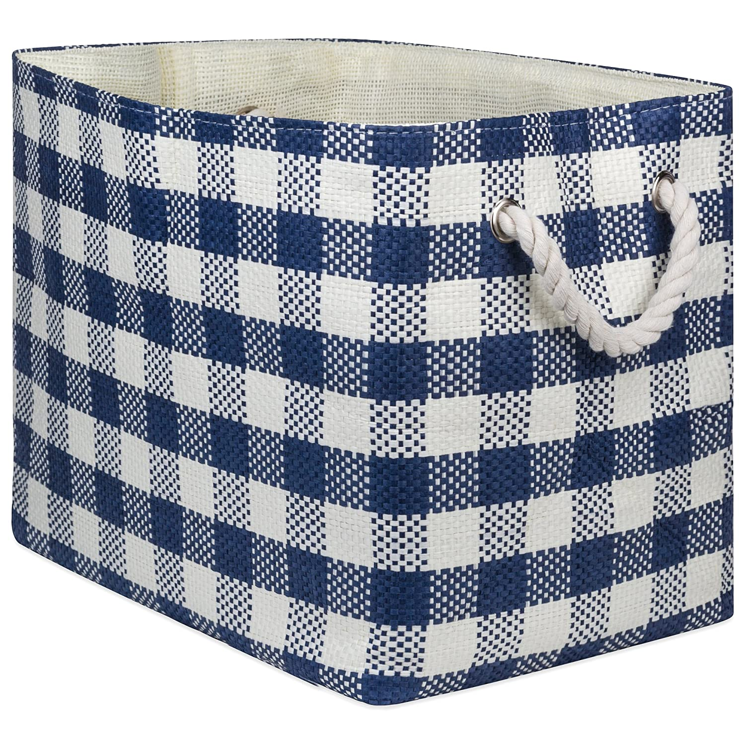 "DII Oversize Woven Paper Storage Basket Or Bin (Medium - 15x10x12""), Aqua Checkered CAMZ10112"