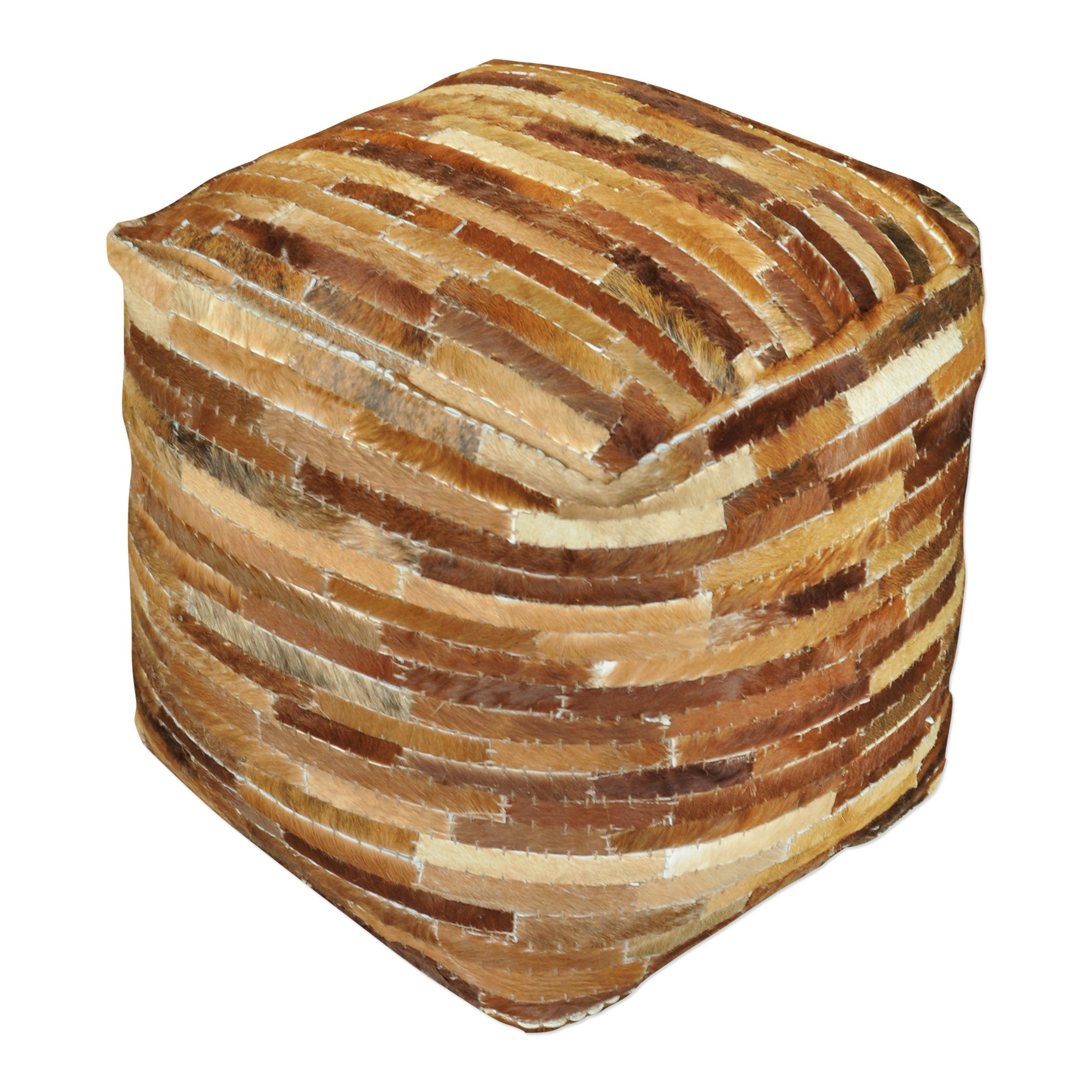 Hair Hide Patchwork Leather Cube Pouf | Brown Strips Ranch Lodge Seat Square by My Swanky Home