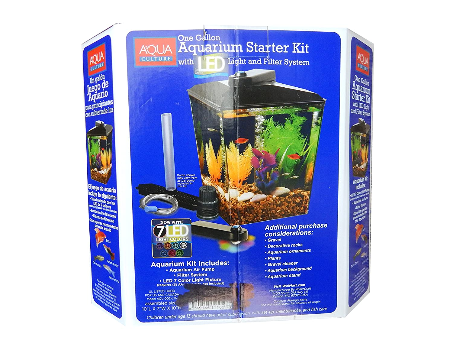 Amazon.com : Aqua Culture One Gallon Aquarium Starter Kit with LED Light & Filter System : Pet Supplies