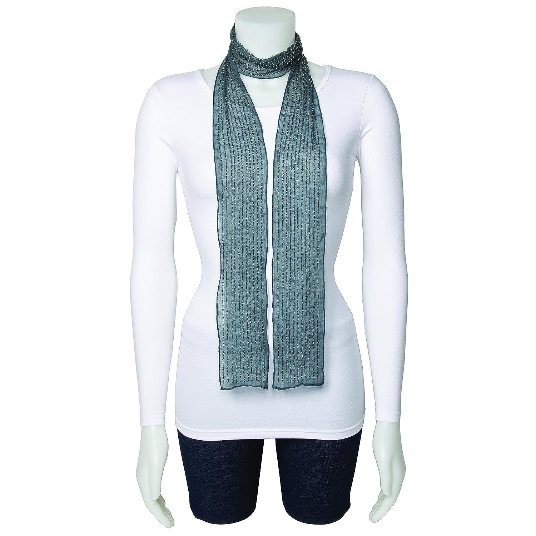 Sweet Pea Fashion Grey Beaded Woven Polyester Fashion Scarf