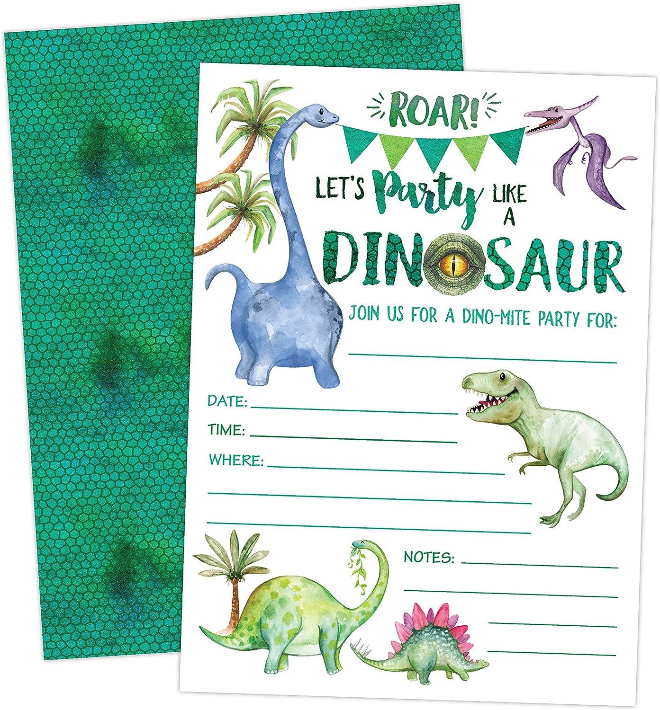 Invitaciones De Cumpleaños De Dinosaurio Invitaciones De Fiesta De Niño T Rex Dino 20 Invitaciones Y Sobres Kitchen Dining