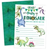 Dinosaur Birthday Invitation, Boy T-Rex Dino Party Invites, 20 invitations and envelopes