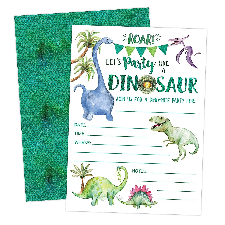 Amazon Dinosaur Birthday Invitation Boy T Rex Dino Party Invites 20 Invitations And Envelopes Kitchen Dining