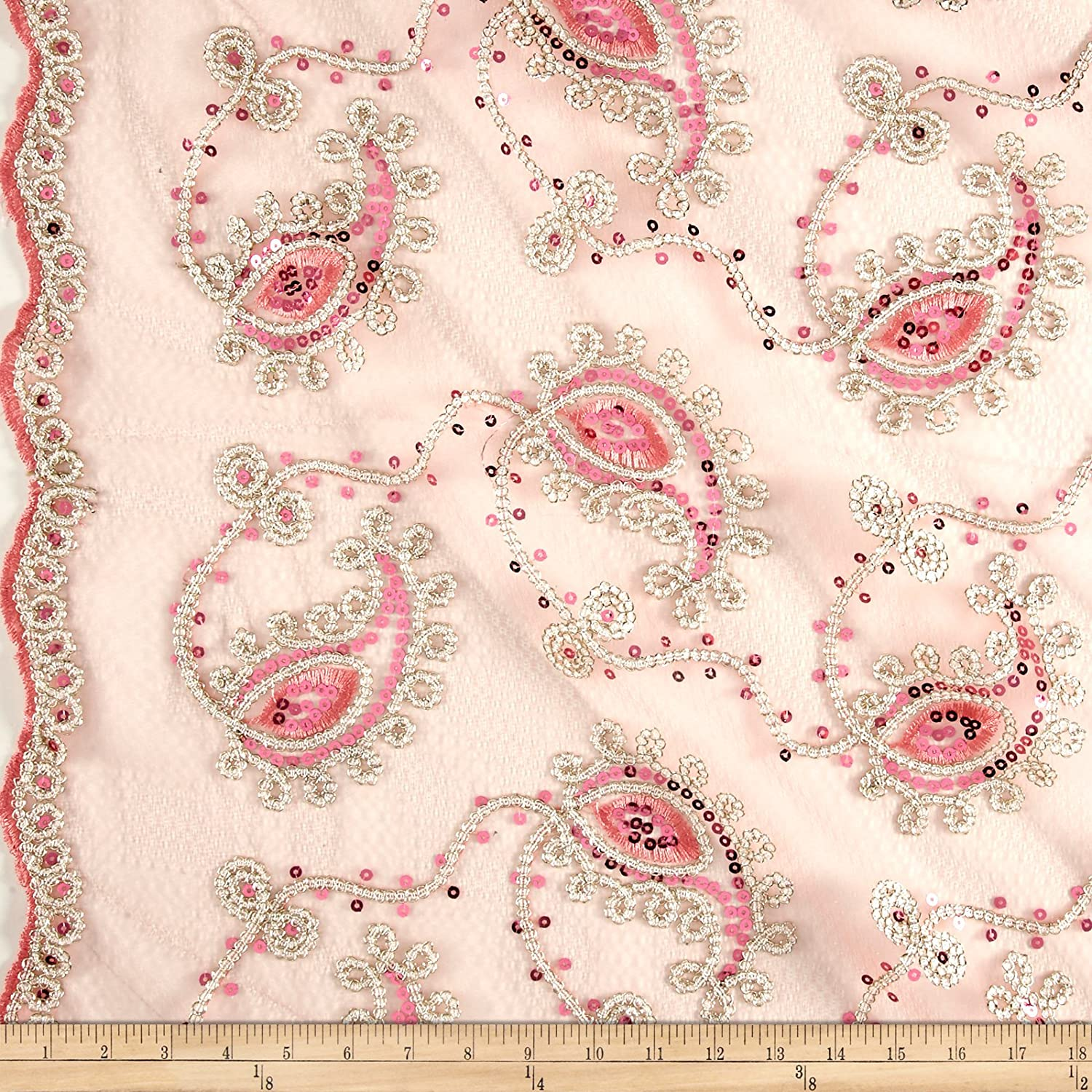 "Pink Gold Border Embroidery Sequins Lace Fabric 50"" Width 1 Yard"