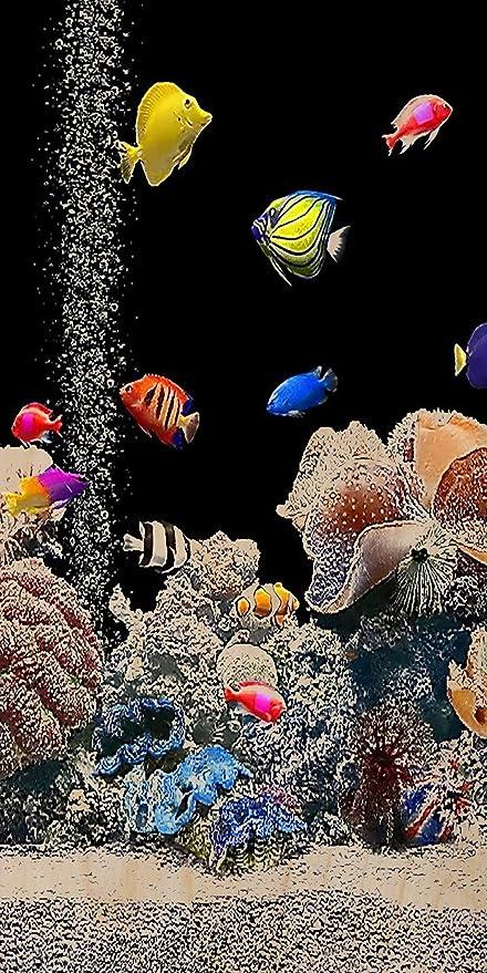 En la pecera con peces de colores tierra rígidapara/Coral negro madera contrachapada - Impresión