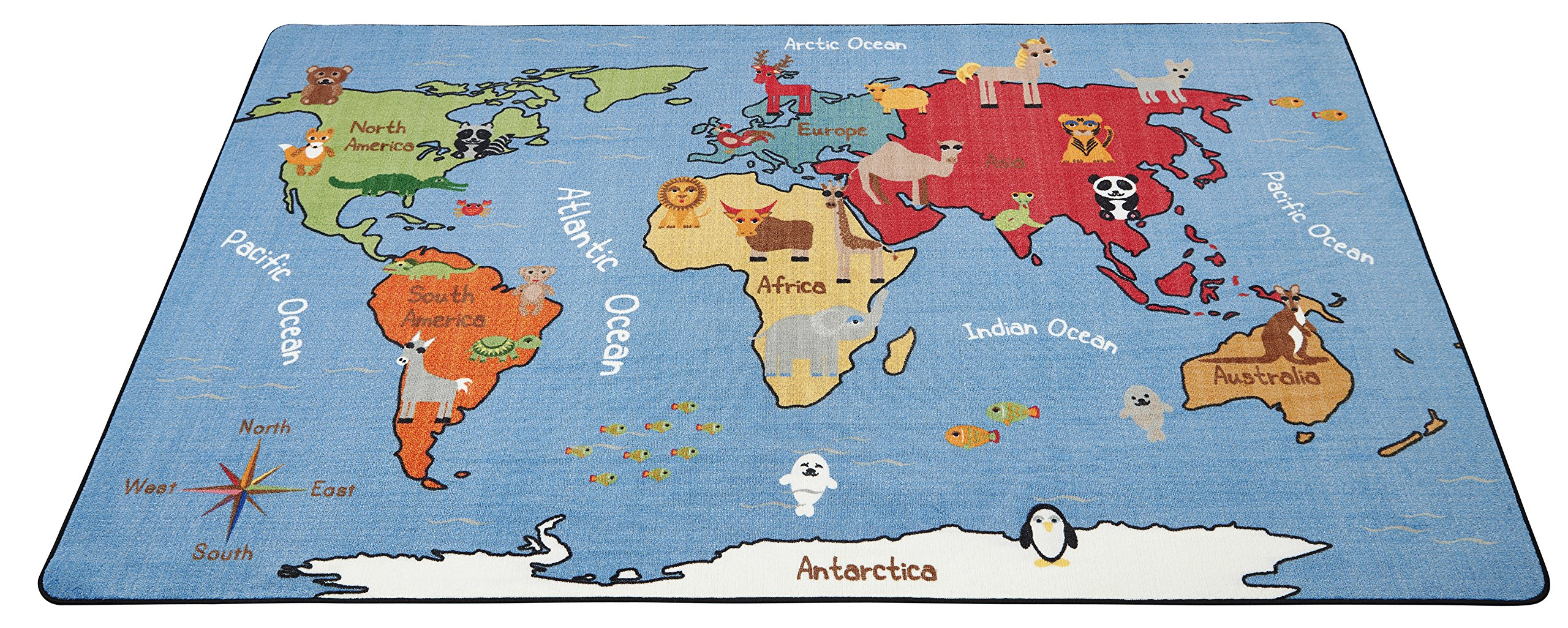 ECR4Kids Animals of the World Educational Activity Rug for Children, School Classroom Learning Carpet, Rectangle, 6 x 9-Feet by ECR4Kids (Image #8)