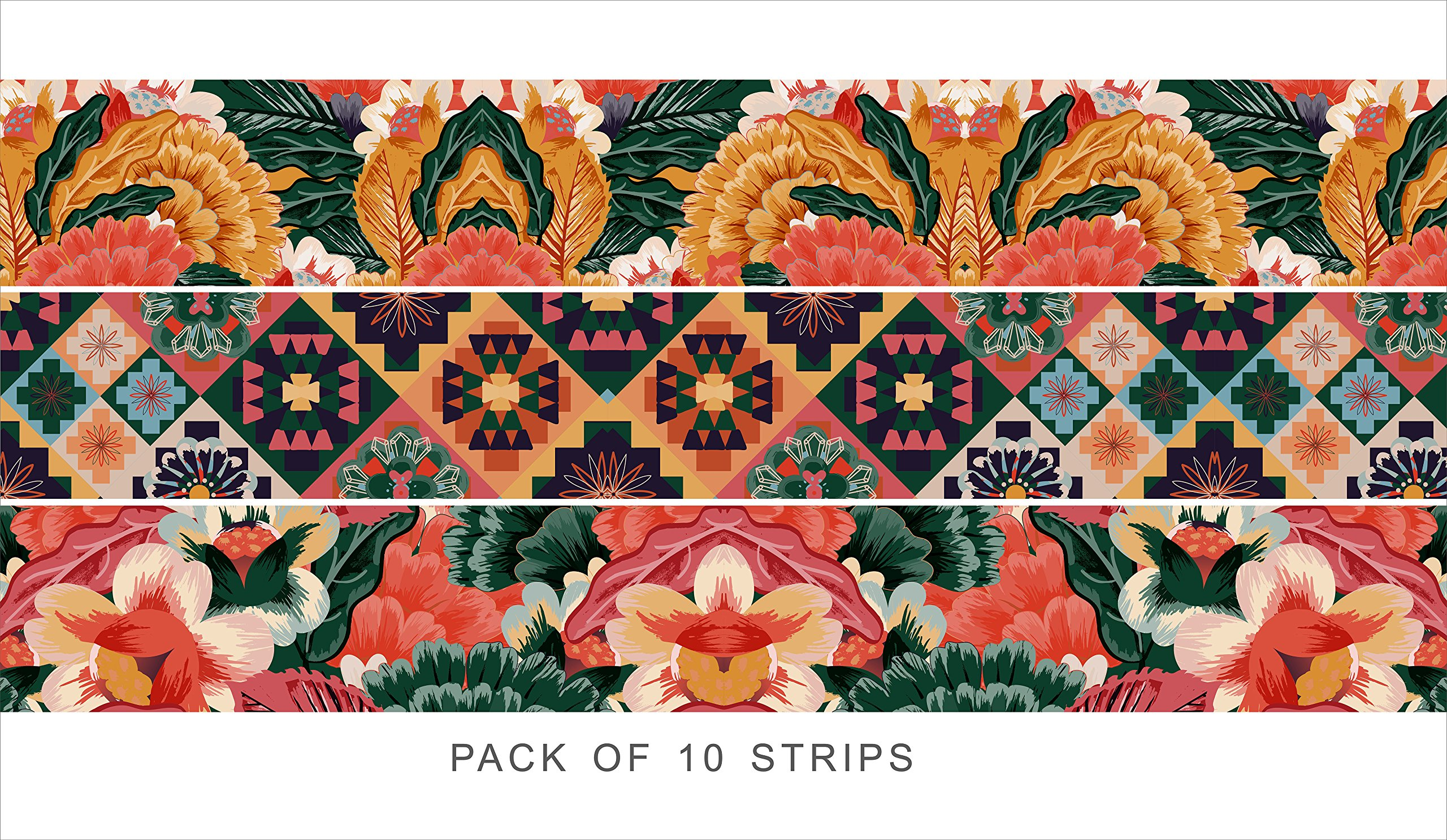 Bleucoin Stair Riser Decal Strips : Tropical Interior Trend - Pack of 10 Strips with 124cm Length (8'' x 49'' (Pack of 10 Strips)) by Bleucoin (Image #2)