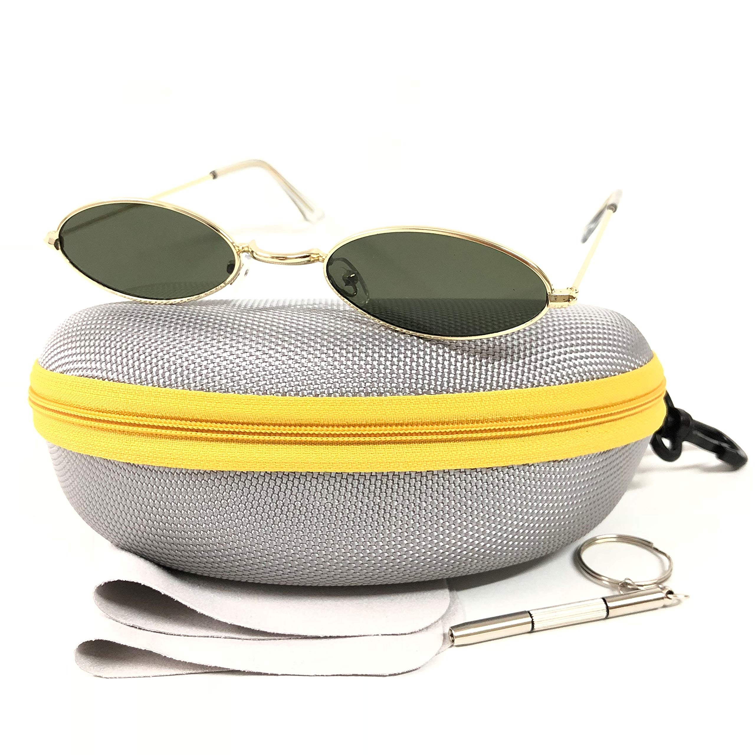 c7173db373 Vintage Small Oval Design Sunglasses for Women Men 100% UV Protection with  Case