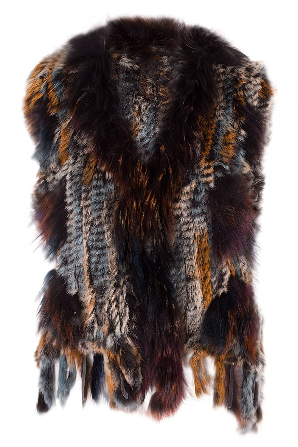 NOROZE Womens Vest Rabbit Fur with Raccoon Fur Trim Gilet Sleeveless Tassels Top