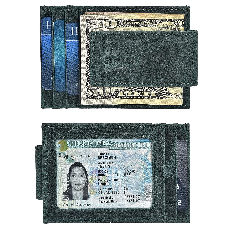 RFID Front Pocket Leather Wallet for Men - Blocking Genuine Leather Credit Card Holder Mens Minimalist Wallets by Estalon