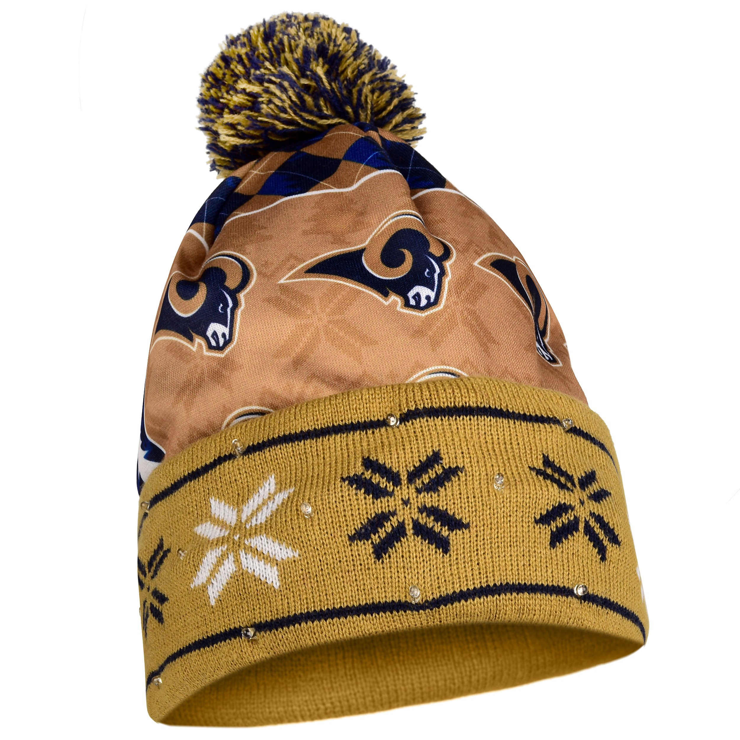 FOCO Los Angeles Rams Exclusive Busy Block Printed Light Up Beanie