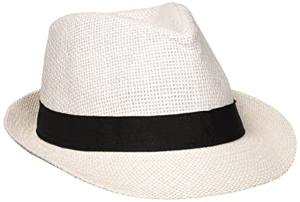 Image Unavailable. Image not available for. Color  Amscan White Party Fedora  with Black Band ... 414e0c70d95