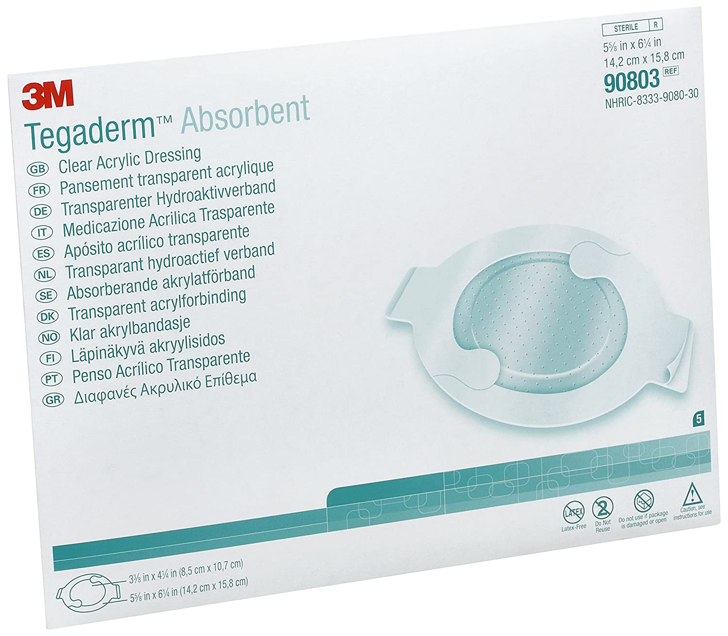Image of 3M 90803 Tegaderm Absorbent Clear Acrylic Dressing, Large, Oval (Pack of 30) First Aid Tape