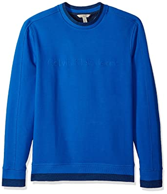 4b777256aad7 Calvin Klein Men s Crew Neck Sweatshirt with Tonal Rib Tipping at Amazon  Men s Clothing store