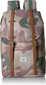 Herschel Retreat Backpack, Brushstroke Camo/Tan Synthetic Leather, Mid-Volume 14.0L