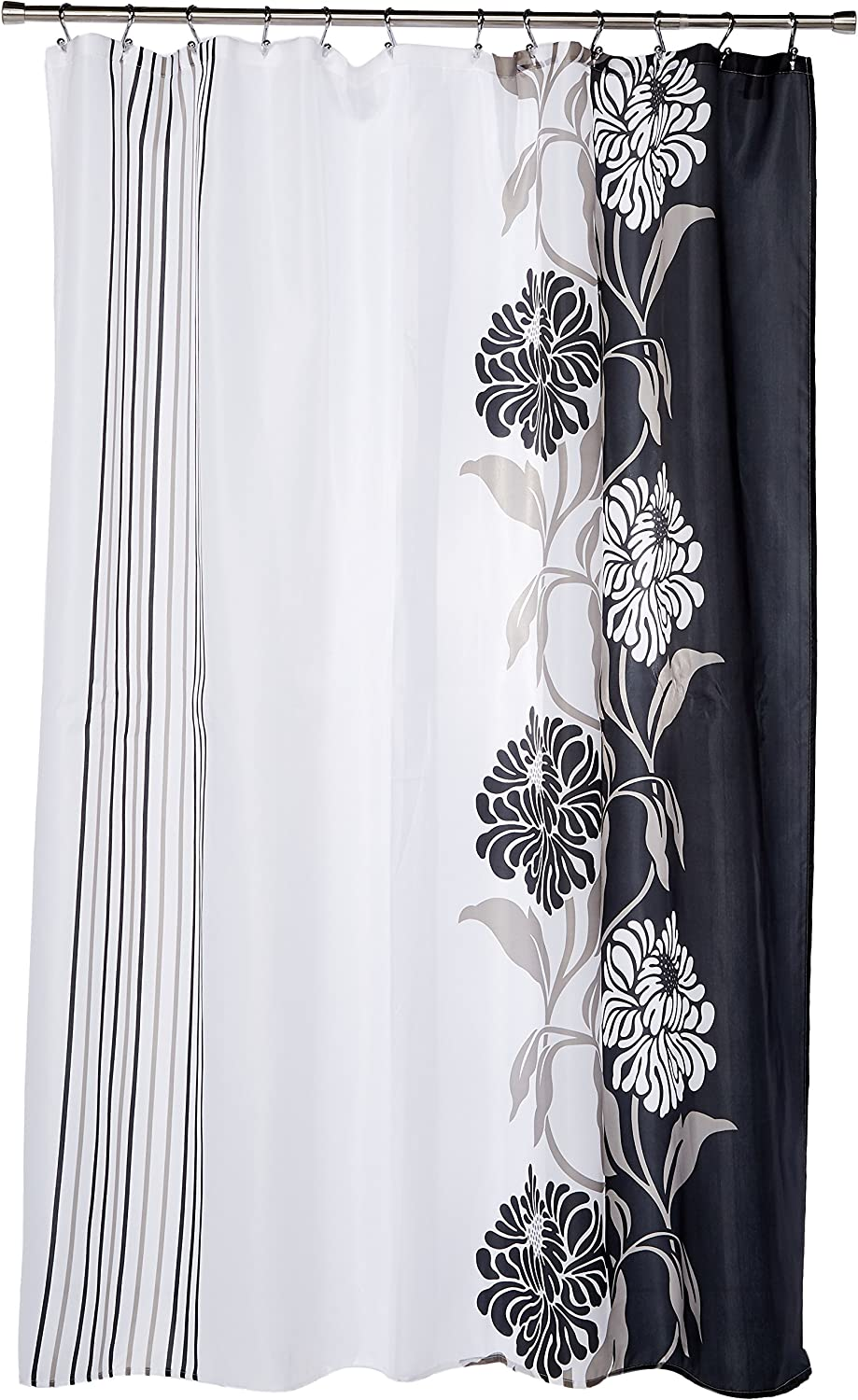 Carnation Home Fashions 100-Percent Polyester Fabric Print 70 by 72-Inch Shower Curtain, Standard, Chelsea, Black/White