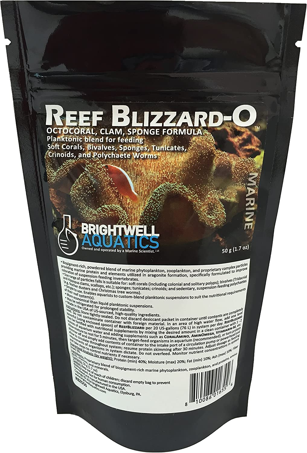 Brightwell Aquatics Reef Blizzard O - Powdered Planktonic Food Blend for Soft Corals, Bivalves, Sponges, Tunicates, Crinoids & Polychaete Worms