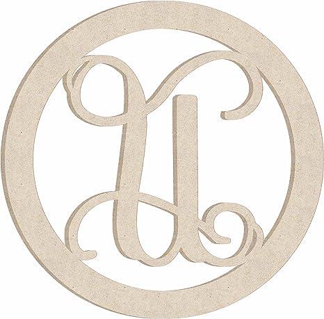 Vine Monogram Letter J Unfinished Wood Door Hanger MDF Shape Style 1