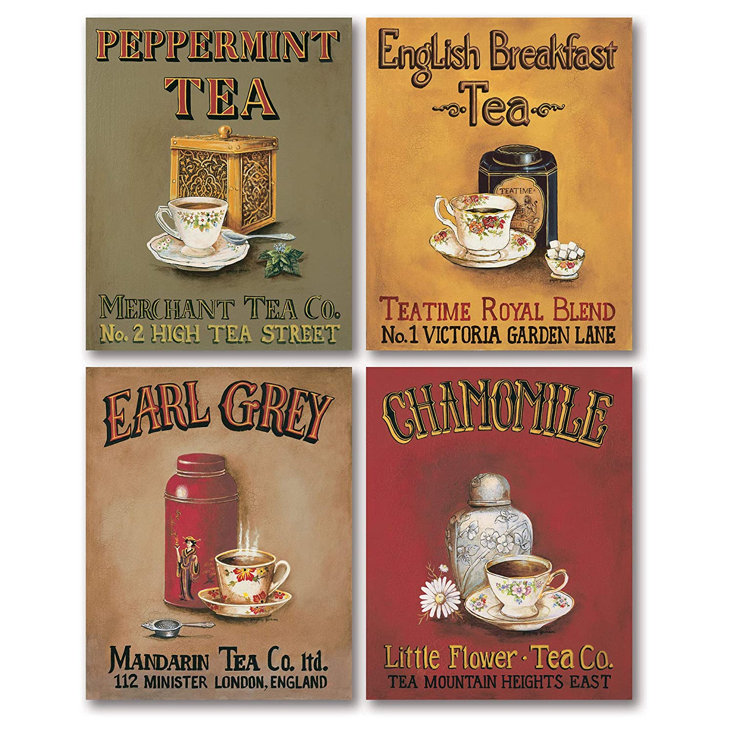 Gango Home Decor Tea Time! Vintage Tea Signs; Earl Grey, English Breakfast, Chamomile and Peppermint; Four 8 x 10 Prints