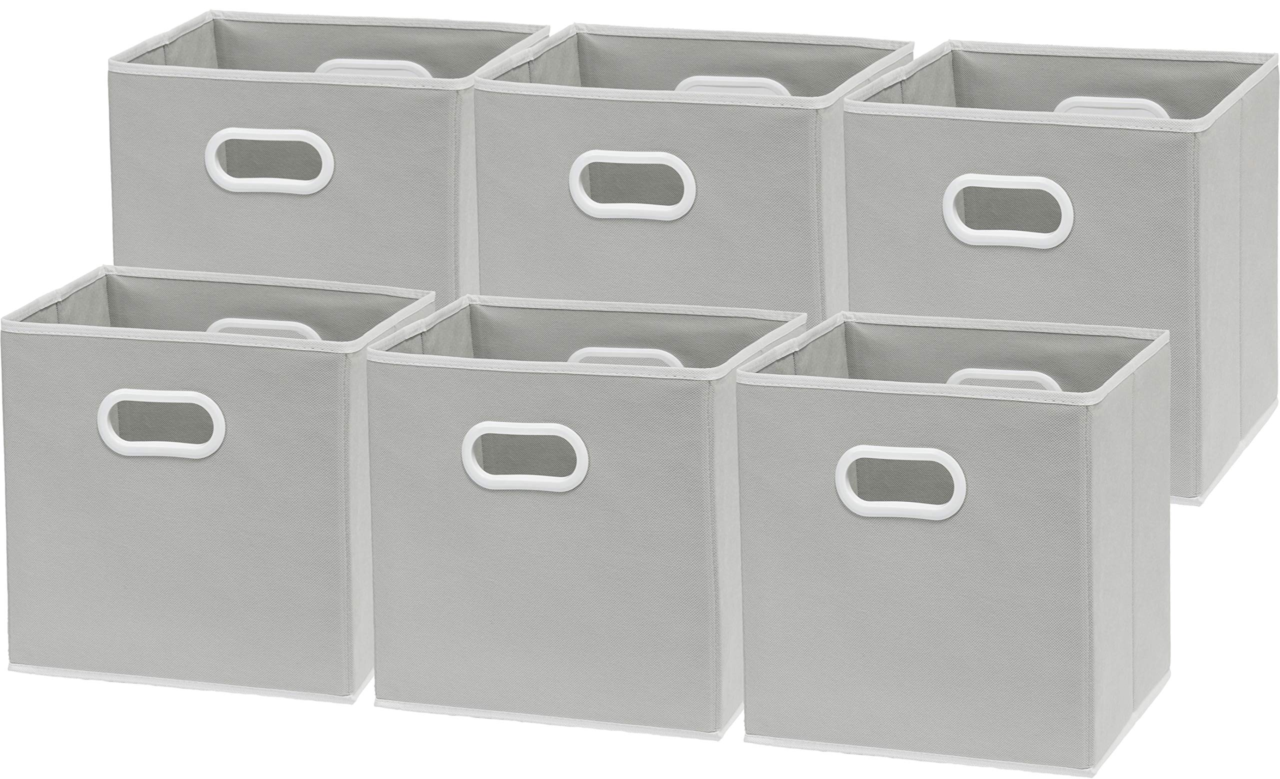 6 Pack - SimpleHouseware Foldable Cube Storage Bin with Handle, Grey (12-Inch Cube) by Simple Houseware