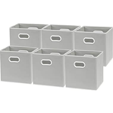 6 Pack - SimpleHouseware Foldable Cube Storage Bin with Handle, Grey (12-Inch Cube)