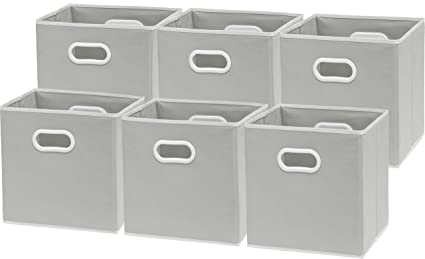 Superieur 6 Pack   SimpleHouseware Foldable Cube Storage Bin With Handle, Grey (12  Inch