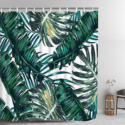 Bathroom Decorative Shower Curtain Green Rainforest Tropical Plant Banana Leaf Palm Curtains Fabric