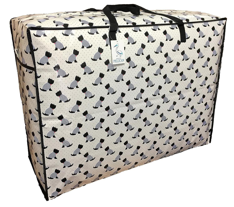 Strapazierf/ähige robuste Aufbewahrungstasche W/äsche und Bettw/äsche Tasche. 75 * 55 * 28CM, 115L Schwarz-Wei/ß-Terrier Hund Muster Super gro/ße Aufbewahrungstasche