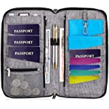 Valante Premium Family Travel Document Organizer Capacious RFID Passport Holder Wallet (Large, gray)