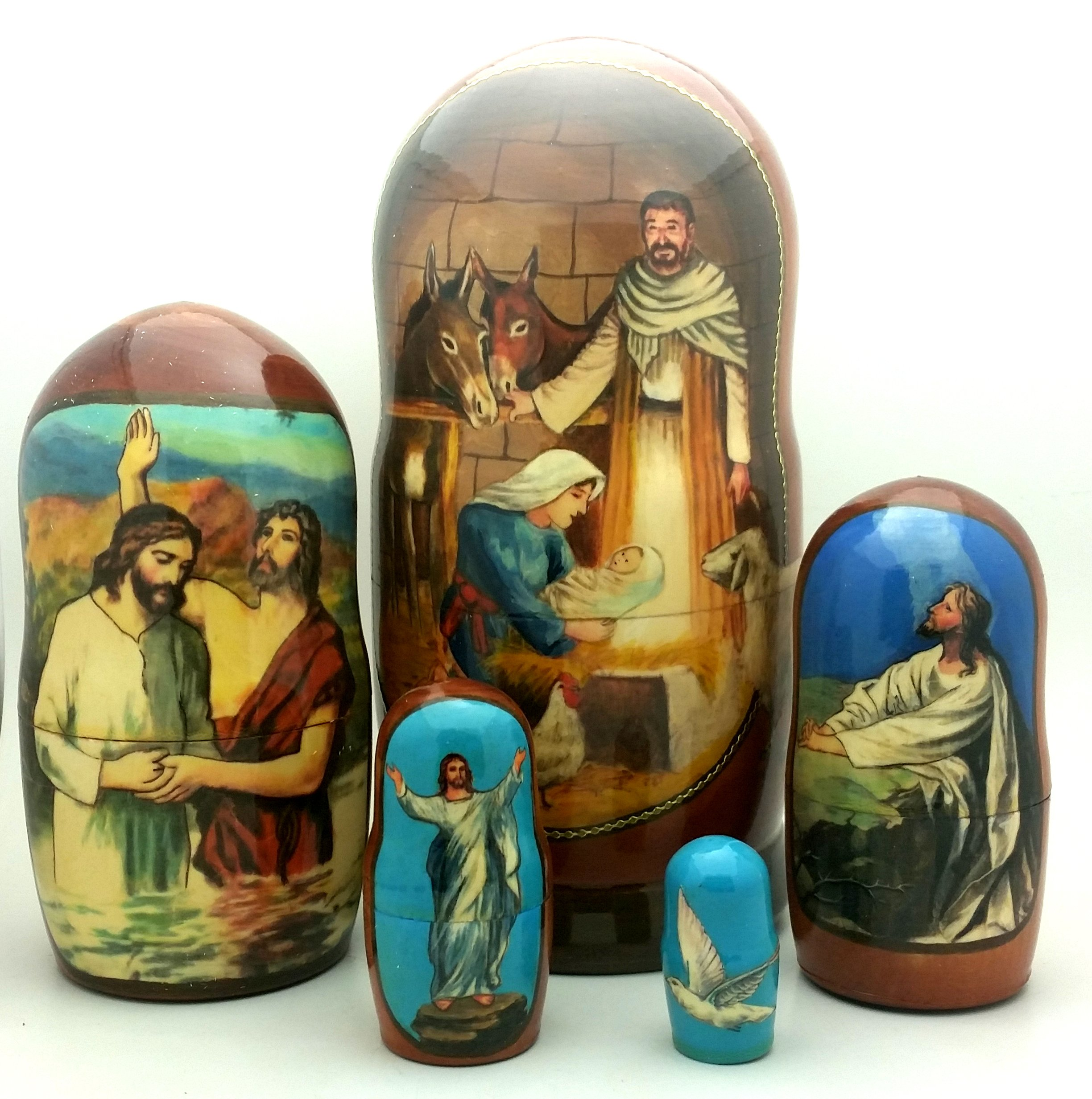 Nativity Jesus Life Nesting Doll Hand Made in Russia 5 Piece 7''H Christmas Set