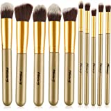 Foolzy BR-15D Professional Makeup Brushes Kit, Brown (Set of 10)
