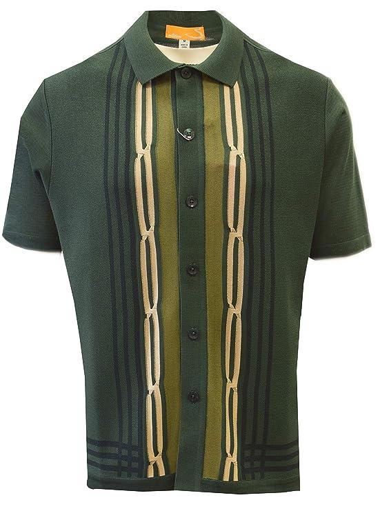 1960s -1970s Men's Clothing SAFIRE SILK INC. Edition S Mens Short Sleeve Knit Shirt - California Rockabilly Style: Multi Stripes $49.00 AT vintagedancer.com